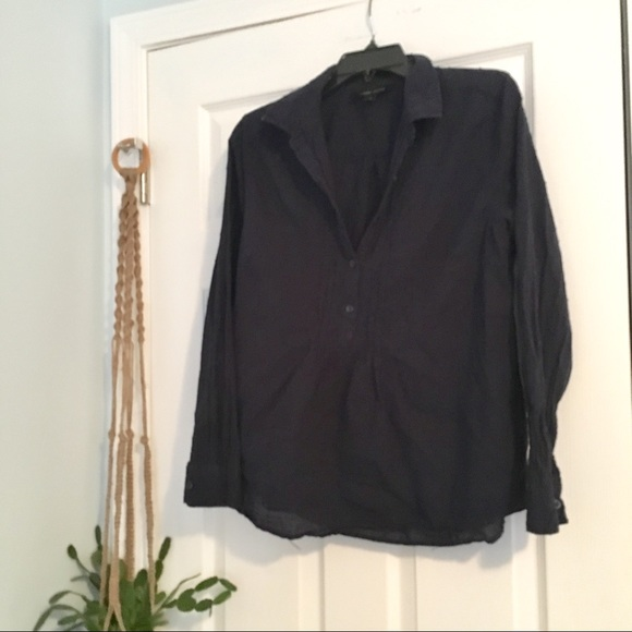 Larry Levine Tops - Navy Blue Swiss Dot Pleated Button Down Shirt